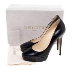 Jimmy Choo Black Leather Alex Platform Pumps Size 39.5