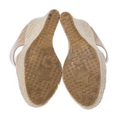 Jimmy Choo Beige Patent Patriot Espadrille Wedge Cut Out Booties Size 38.5