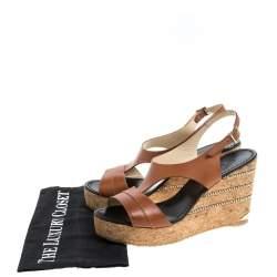 Jimmy Choo Brown/Black Leather Portia Cork Wedge Sandals Size 39.5