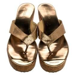Jimmy Choo Rose Gold Glitter Fabric Pathos Thong Cork Wedge Slides 40