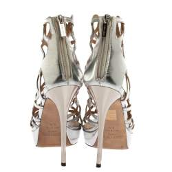 Jimmy Choo Silver Leather And Stardust Glitter Suede Cutout Open Toe Platform Sandals Size 39.5