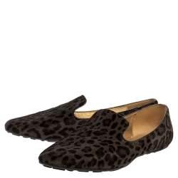 Jimmy Choo Grey Leopard Print Calf Hair Wheel Smoking Slippers Size 39