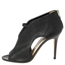 Jimmy Choo Black Leather Cut Out Peep Toe Sandals Size 40