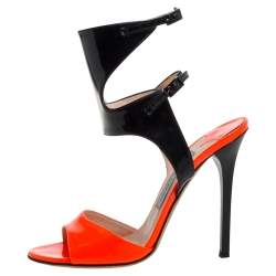 Jimmy Choo Neon Orange And Black Patent Leather Loop Ankle Cuff Open Toe Sandals Size 38