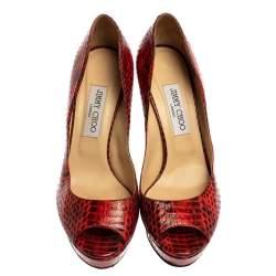 Jimmy Choo Red/Black Python Dahlia Peep Toe Pumps Size 40