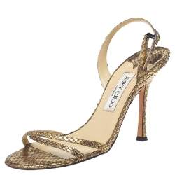 Jimmy Choo Gold Python Leather Slingback Open Toe Sandals Size 38