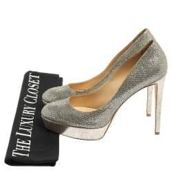 Jimmy Choo Silver Glitter Alex Platform Pumps Size 41