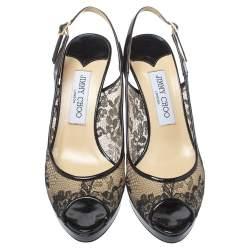 Jimmy Choo Black Lace And Patent Leather Nova Peep Toe Slingback Sandals Size 37.5
