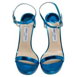 Jimmy Choo Metallic Blue Leather Claudette Ankle Strap Platform Sandals Size 40