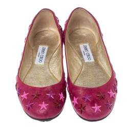 Jimmy Choo Pink Leather Western Star Studded Ballet Flats Size 38