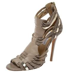Jimmy Choo Beige Leather and Suede Strappy Sandals 38.5