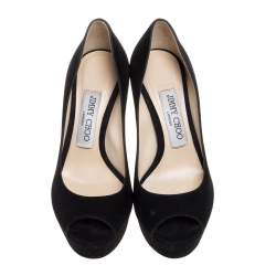 Jimmy Choo Black Suede Peep Toe Platform Pumps Size 35