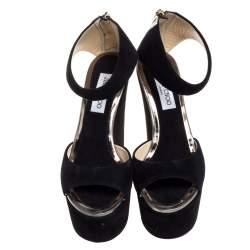Jimmy Choo Black Suede Open Toe Platform Wedge Sandals Size 39