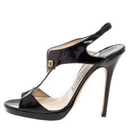 Jimmy Choo Black Leather T-Strap Slingback Sandals Size 39