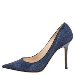 Jimmy Choo Blue Denim and Snakeskin Romy Pumps Size 37