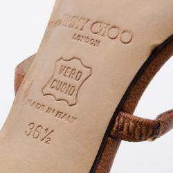 Jimmy Choo Brown Camel Leather 'Verity' Strap Sandals Size 36.5