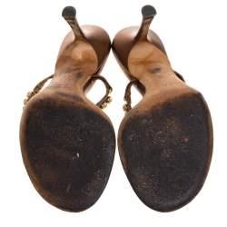 Jimmy Choo Metallic Bronze Leather Crystal Embellished Thong Sandals  Size 38.5