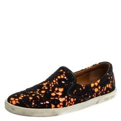 Jimmy Choo Black/Neon Orange Lace and Patent Leather Demi Slip-On Sneakers Size 39.5