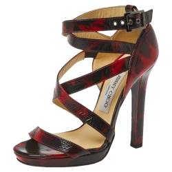 jimmy Choo Red/Black Abstract Print Patent Leather Double Cross Strap Sandals Size 36.5