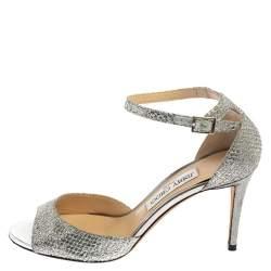 Jimmy Choo Metallic Silver Glitter Fabric Annie Ankle Strap Sandals Size 38.5