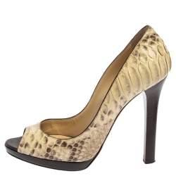 Jimmy Choo Beige/Brown Python Peep Toe Platform Pumps Size 38.5
