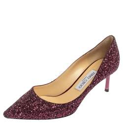 Jimmy Choo Purple Glitter Romy Pointed Toe Pumps Size 38