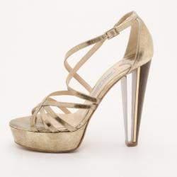 Jimmy Choo Gold Platform Sandals Size 37.5