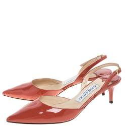 Jimmy Choo Red Patent Leather Tide Pointed Toe Slingback Sandals Size 37