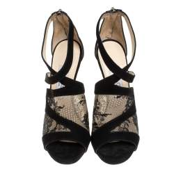 Jimmy Choo Black Suede and Lace Virion Inset Glove Sandals Size 36.5