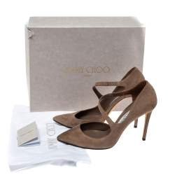 Jimmy Choo Beige Suede Davos Pointed Toe Pumps Size 40