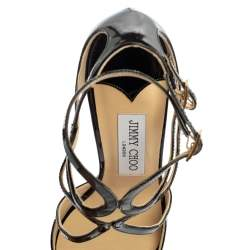 Jimmy Choo Black Patent Leather Ivette Strappy Sandals Size 37.5