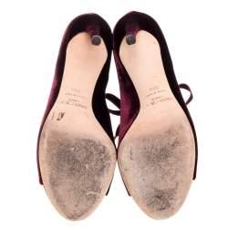 Jimmy Choo Burgundy Velvet Mavy Lace Boots Size 39.5
