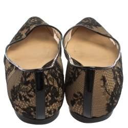 Jimmy Choo Black Floral Lace Romy Ballet Flats Size 37