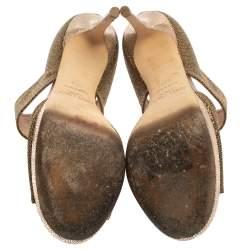 Jimmy Choo Gold /Bronze Glitter Fabric Lagoon Platform Sandals Size 37.5