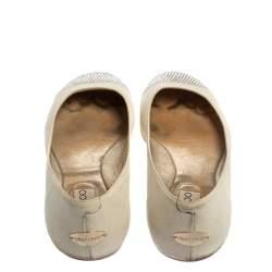 Jimmy Choo White Leather Waine Crystal Embellished Cap Toe Ballet Flats Size 36.5