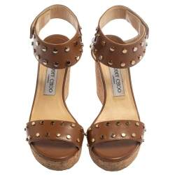 Jimmy Choo Brown Studded Leather Veto Cork Wedge Sandals Size 38.5
