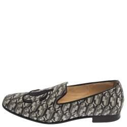 Jimmy Choo Silver/Black Monogram Glitter Leather Sache Smoking Slippers Size 37.5