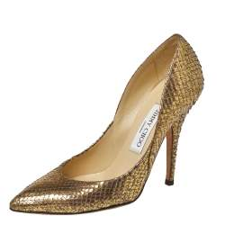 Jimmy Choo Gold Python Abel Pumps Size 36