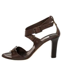 Jimmy Choo Brown Leather Studded Crisscross Ankle Strap Sandals Size 39