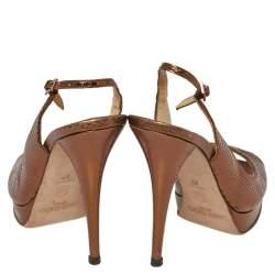 Jimmy Choo Metallic Bronze Snake Embossed Leather Elazer Sandals Size 37