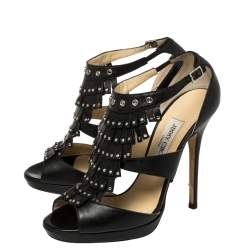 Jimmy Choo Black Leather Studded Fringe Platform Sandals Size 39