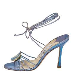Jimmy Choo Metallic Blue Cracked Leather Border Ankle Wrap Sandals Size 38.5