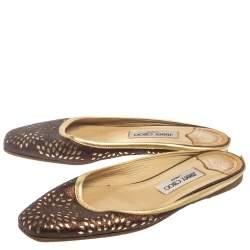 Jimmy Choo Metallic Brown Glitter And Leather Maya Flat Mules Size 38.5