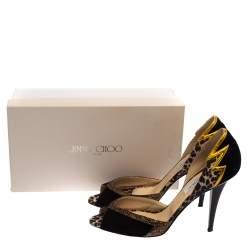 حذاء كعب عالى جيمى تشو دورسيه نيس غليتر وسويدى أسود مقاس 40.5