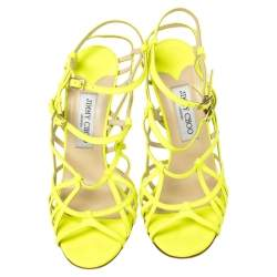 Jimmy Choo Neon Green Leather Strappy Sandals Size 39