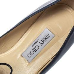 Jimmy Choo Blue Leather And Fabric Genna Pointed Toe Flats Size 39