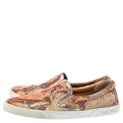 Jimmy Choo Brown Snakeskin Embossed Brooklyn Slip On Sneakers Size 38