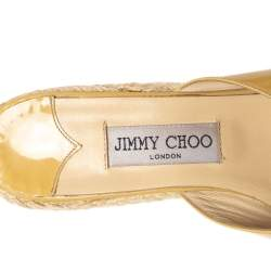 Jimmy Choo Beige Leather Criss Cross Wedge Sandals Size 39