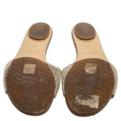 Jimmy Choo Metallic Lame Glitter Nanda Slide Sandals Size 36.5