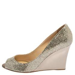 Jimmy Choo Metallic Silver Glitter Fabric Baxen Peep Toe Wedge Pumps Size 40